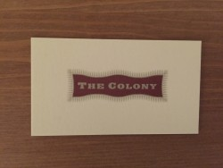 The Colony Grill Room business card