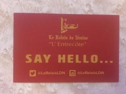 Le Relais de Venise business card
