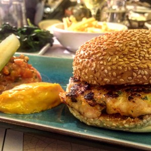 ... packed at lunch. Oysters, a simple shrimp and scallop burger